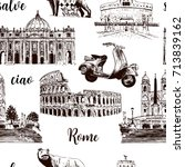 rome sightseeing seamless... | Shutterstock .eps vector #713839162