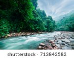 mysterious mountainous jungle... | Shutterstock . vector #713842582