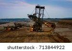 bucket wheel excavator in the... | Shutterstock . vector #713844922