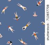 people swimming pattern. summer ... | Shutterstock .eps vector #713857708