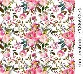 pink watercolor floral drop... | Shutterstock . vector #713864275