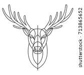 head deer line | Shutterstock .eps vector #713865652