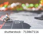 miniature people travelers... | Shutterstock . vector #713867116