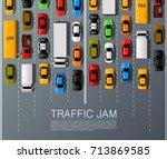 road cars transport  traffic... | Shutterstock .eps vector #713869585