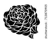 flower rose  monochrome.... | Shutterstock .eps vector #713870905