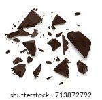 broken chocolate parts from top ... | Shutterstock . vector #713872792