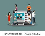 vlog concept. young people with ... | Shutterstock .eps vector #713875162