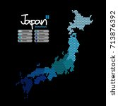 japan map of circle shape with... | Shutterstock .eps vector #713876392