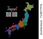 japan map of circle shape with... | Shutterstock .eps vector #713877976