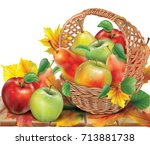 a basket of apples and pears in ...   Shutterstock .eps vector #713881738