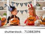 cute little children girls with ... | Shutterstock . vector #713882896