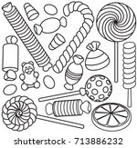 set of doodle sketch sweets and ... | Shutterstock .eps vector #713886232