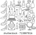 collection of female stuff... | Shutterstock .eps vector #713887816
