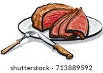 illustration of cooked roast... | Shutterstock .eps vector #713889592
