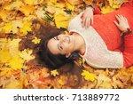 smiling happy womanl portrait ... | Shutterstock . vector #713889772