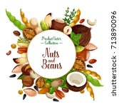 nut  bean and seed food poster. ... | Shutterstock .eps vector #713890096