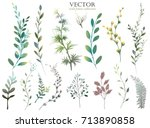 vector big set watercolor... | Shutterstock .eps vector #713890858
