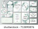 set of creative botanical... | Shutterstock .eps vector #713890876