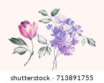graceful flowers  the leaves... | Shutterstock . vector #713891755