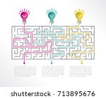 labyrinth infographic 3 options.... | Shutterstock .eps vector #713895676