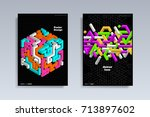 abstract covers design set.... | Shutterstock .eps vector #713897602