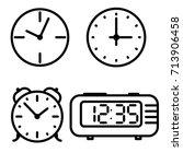 flat line art clock icons set