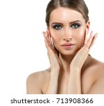 woman face beauty with healthy... | Shutterstock . vector #713908366