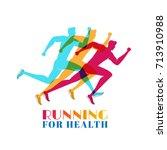 running marathon colorful. set...   Shutterstock .eps vector #713910988