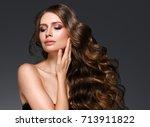beauty woman face portrait.... | Shutterstock . vector #713911822