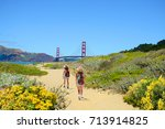 friends on a hiking trip  girls ... | Shutterstock . vector #713914825
