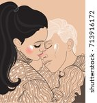 vector beautiful young couple... | Shutterstock .eps vector #713916172