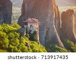 monastery on the rock in... | Shutterstock . vector #713917435