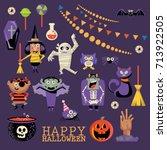 happy halloween vector greeting ... | Shutterstock .eps vector #713922505