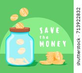 save money concept. saving... | Shutterstock .eps vector #713922832