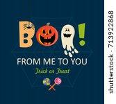 happy halloween vector greeting ... | Shutterstock .eps vector #713922868