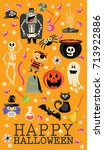 happy halloween vector greeting ... | Shutterstock .eps vector #713922886