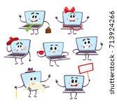 set of various funny cartoon... | Shutterstock .eps vector #713924266