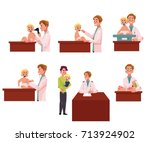man pediatrician  doctor doing... | Shutterstock .eps vector #713924902