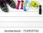 fitness accessories on white...   Shutterstock . vector #713925742