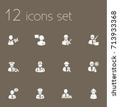 set of 12 professions icons set.... | Shutterstock .eps vector #713933368