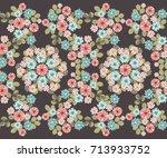 vintage feedsack pattern in...   Shutterstock . vector #713933752