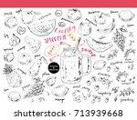 hand drawn sketch fruits ... | Shutterstock .eps vector #713939668