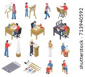 isometric set of artists with... | Shutterstock .eps vector #713940592