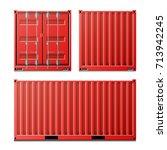 red cargo container vector.... | Shutterstock .eps vector #713942245