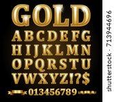 gold alphabetical letters... | Shutterstock .eps vector #713944696