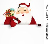 happy smiling santa claus... | Shutterstock . vector #713946742