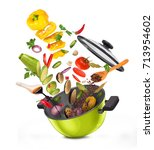 sliced vegetables on a board ... | Shutterstock . vector #713954602