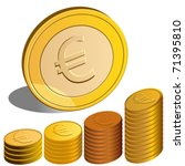 Vector Euro Coins  One Stands...