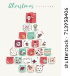 christmas advent calendar  cute ... | Shutterstock .eps vector #713958406