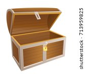 vintage wooden chest with open... | Shutterstock . vector #713959825